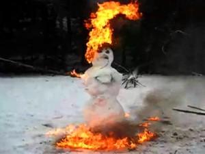 snowman burning