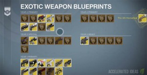 destiny exotic weapon blueprints