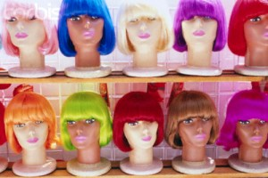 Colorful Wigs on Display